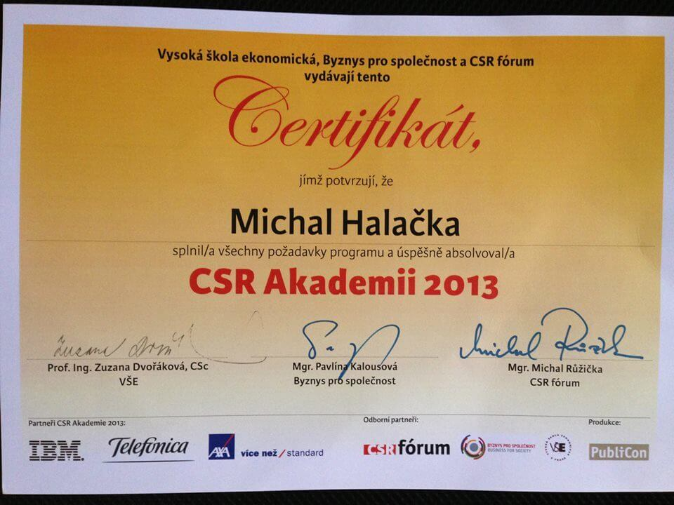 CSR Akademie | Michal Halačka | Business & Marketing